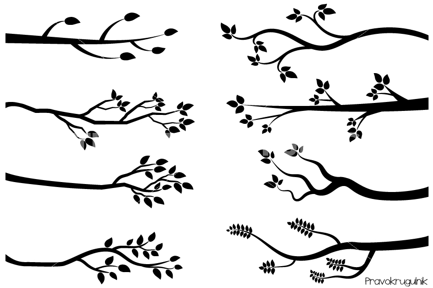 Branch clipart black and white Black clipart clipart Tree Leafy