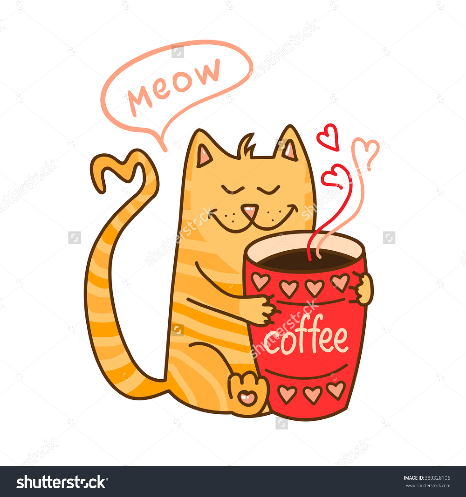 Coffee clipart cartoon Cat Coffee Cute clipart Cartoon
