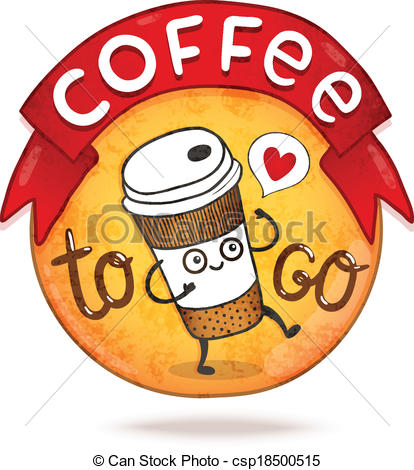 Coffee clipart cartoon Vector coffee Vector cartoon badge