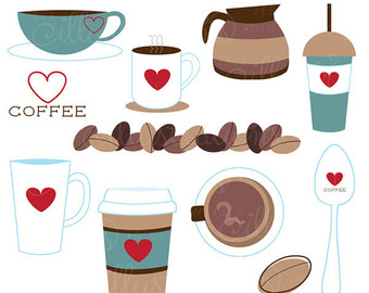 Coffee clipart cute Coffee Etsy Coffee clipart cute