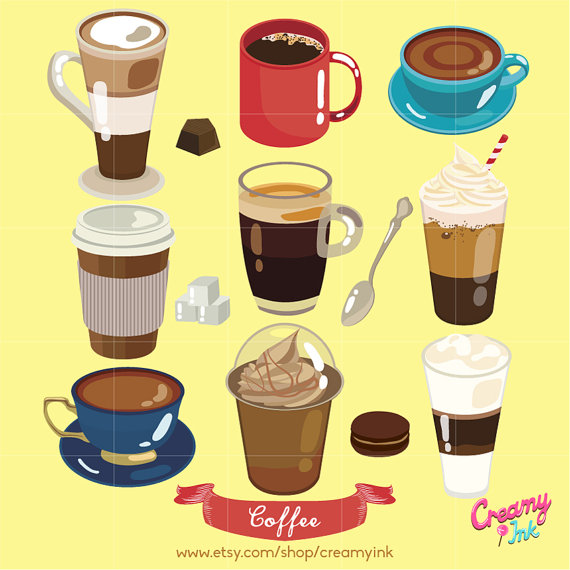 Coffee clipart digital Design Digital Download Clip Vector
