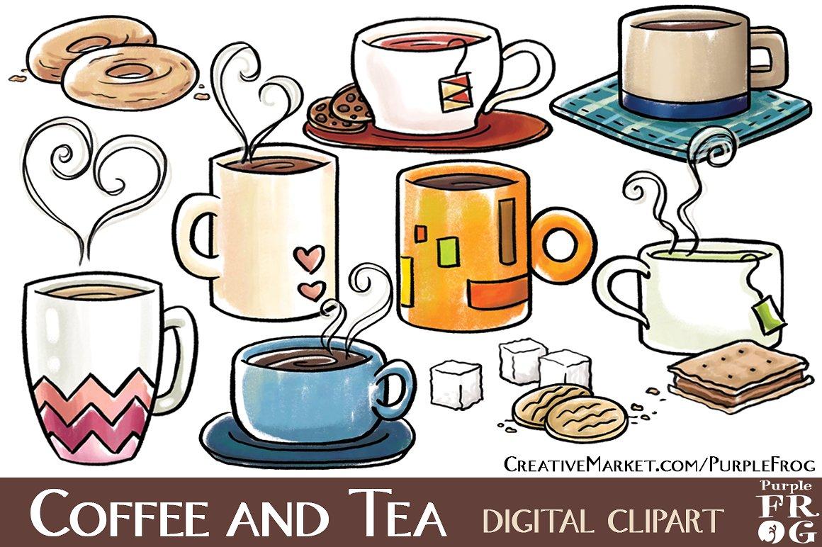 Coffee clipart digital Market TEA Illustrations Digital on