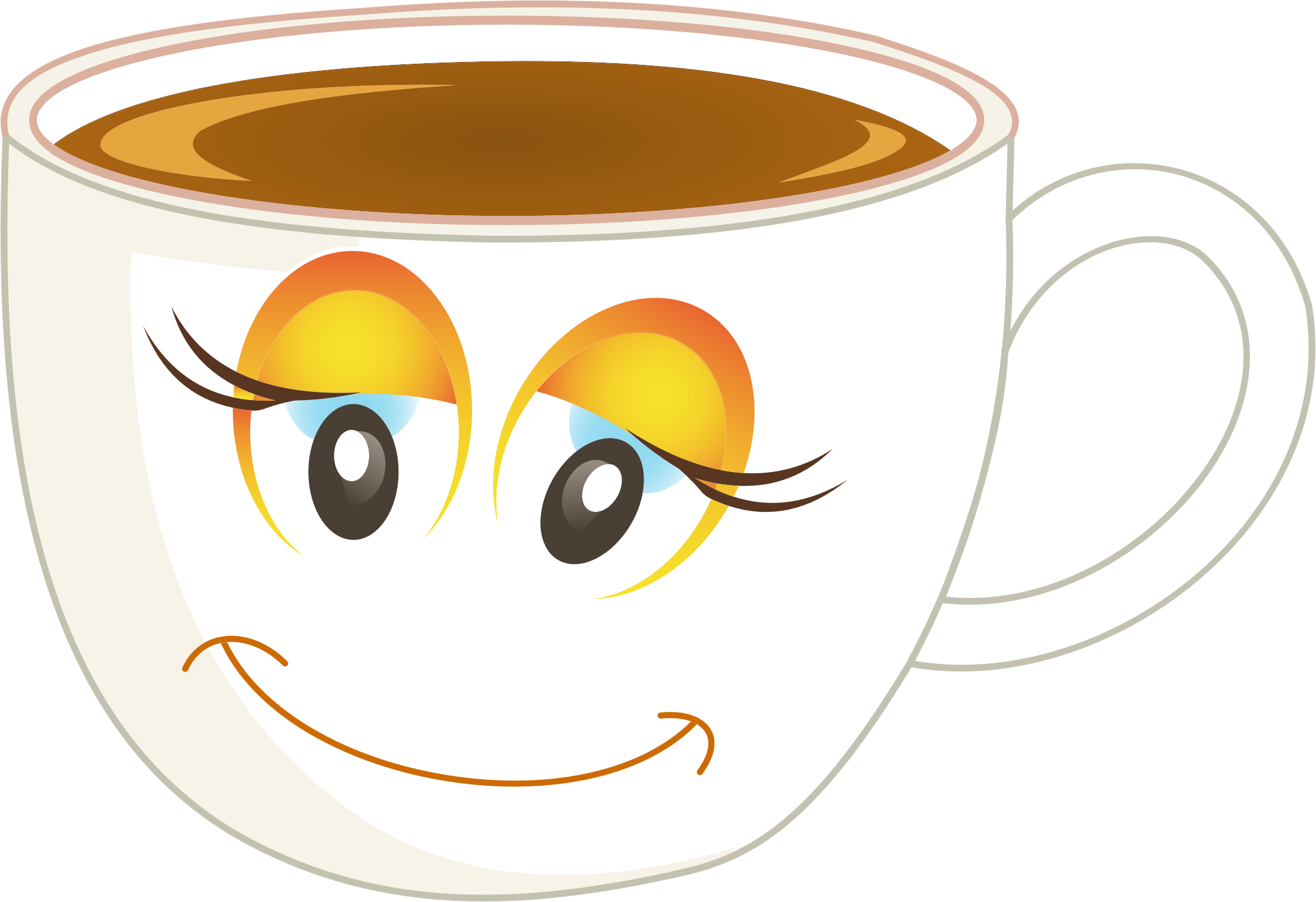 Coffee clipart emoji Female Cup Anthropomorphic Happy Of