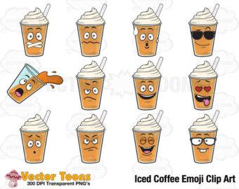 Coffee clipart emoji Clip Digital Emoji Clip Iced