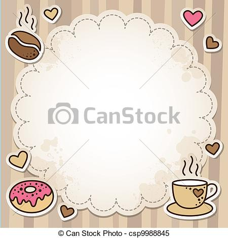 Coffee clipart frame Vintage Coffee frame Illustrations beans