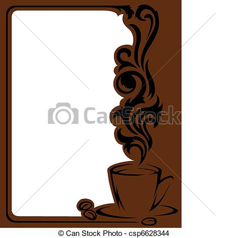 Coffee clipart frame Vertical Art frame of stylized