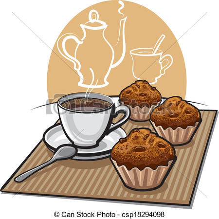 Coffee clipart muffin Vectors muffins coffee EPS csp18294098