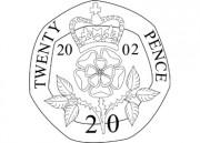 Coin clipart 20p Tag United B&W Art 20p
