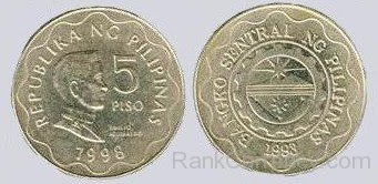 Coin clipart 5 peso Peso Of 1998 Of Philippines