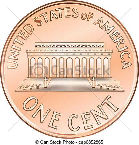 Coin clipart american coin One cent cent American Vector