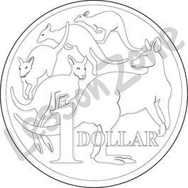 Coin clipart australian dollar Coin collection Zone outline clip