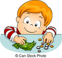 Coin clipart boy with Illustrations Table holding Kid money
