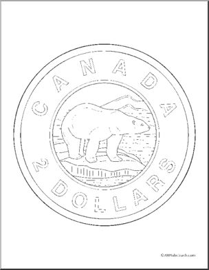 Coin clipart canadian dollar Art Toonie Canadian Coins Clip