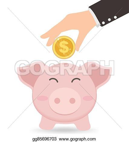 Coin clipart cute Gold piggy into concept EPS