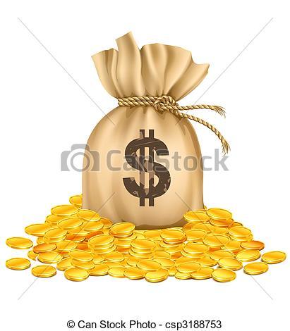 Coin clipart dinero Golden bag golden  coins