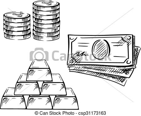 Coin clipart dollar bill Art bars  of coins