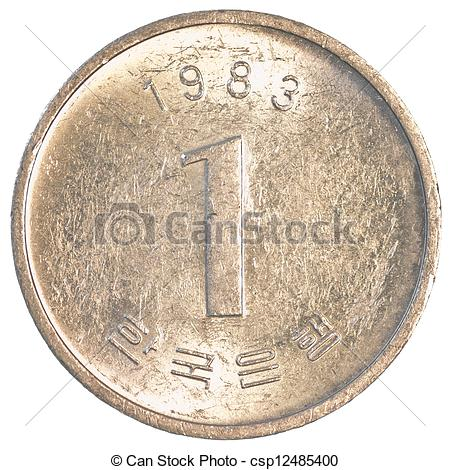 Coin clipart korean South isolated white coin coin