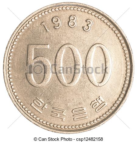 Coin clipart korean Wons on  isolated Stock