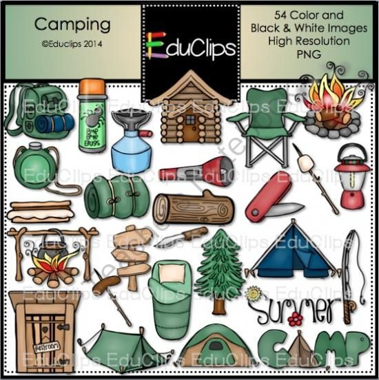 Camper clipart camping gear About Clip on Educlips Bundle