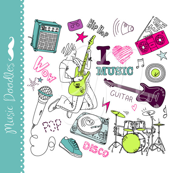 Collage clipart cool music Set doodles clip clip Clipart
