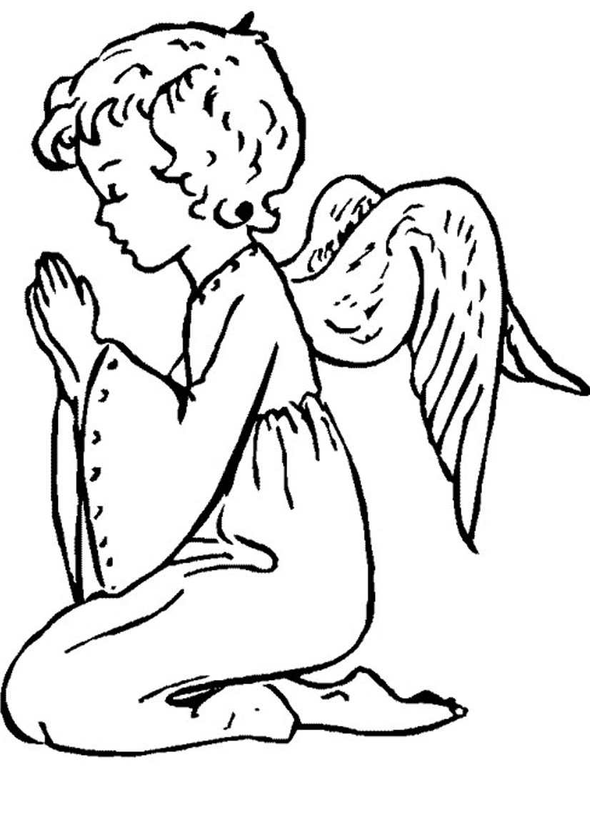 Angel clipart coloring page #1