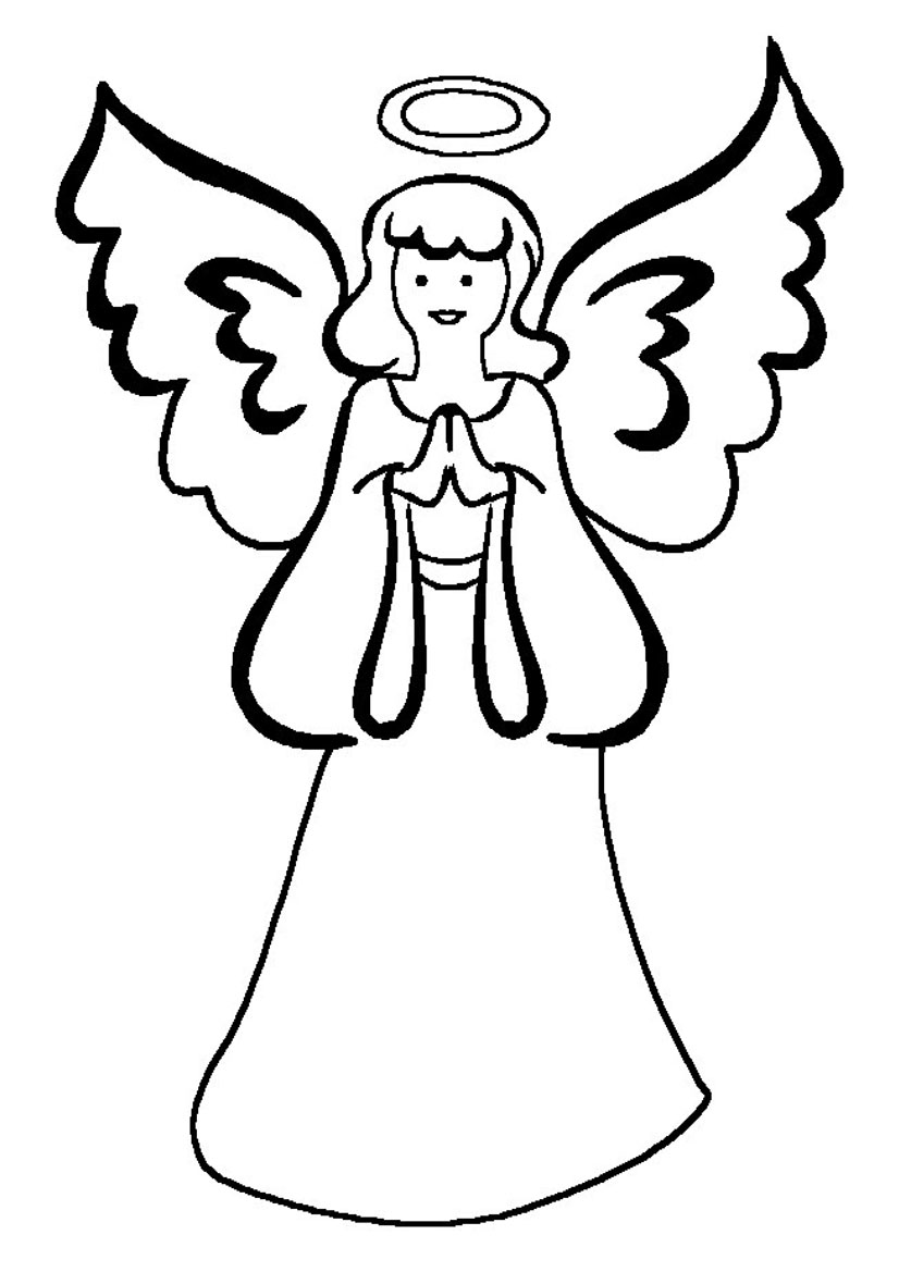 Angel clipart coloring page #8