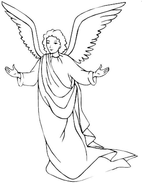 Angel clipart coloring page #2