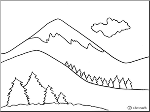 Color clipart mountain range Coloring Sketch Hicoloringpages Page Mountain