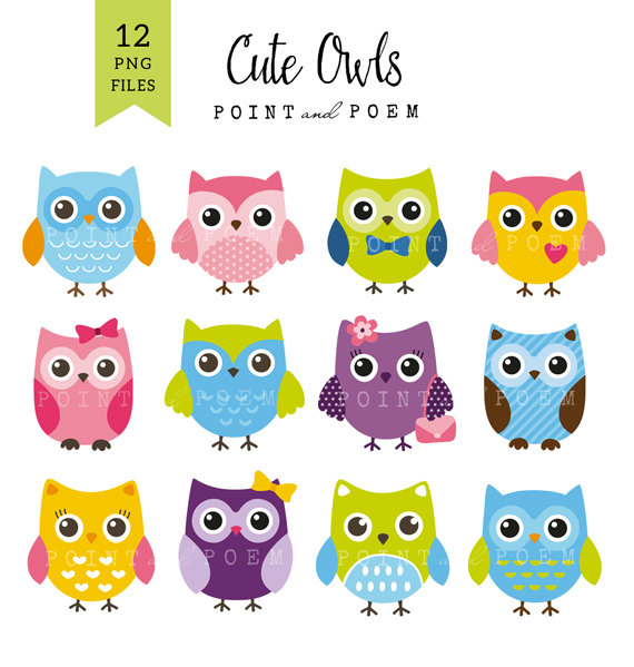 Color clipart owl Owl Etsy cute clipart Commercial