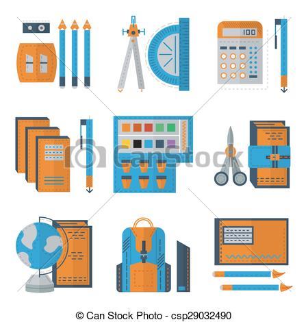 Color clipart stationery Color Set flat Vectors of