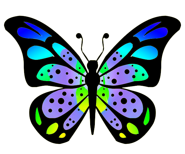 Colouful clipart butterfly wing #6