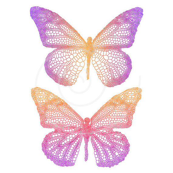 Colouful clipart butterfly wing #9