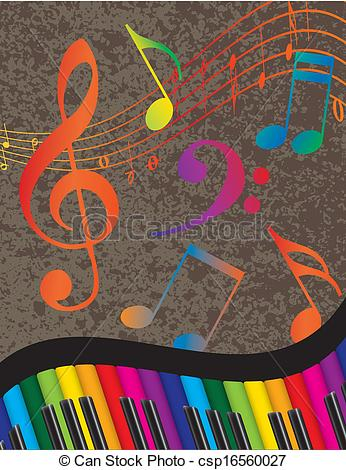 Colorful clipart piano #9