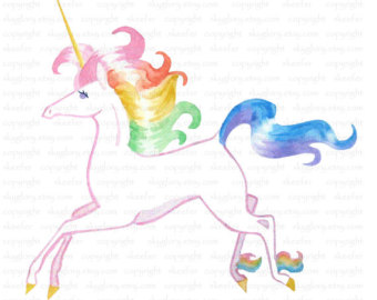 Birthday clipart unicorn Einhorn illustration Unicorn illustration Rainbow