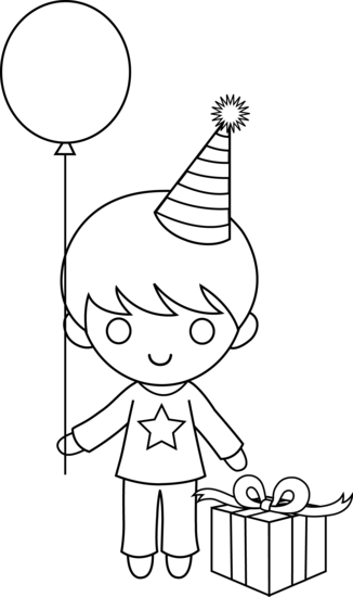 Color clipart birthday Birthday Colorable Free Art Boy