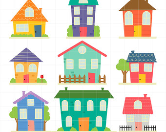 Community clipart village Country Digital Clip Homes Etsy