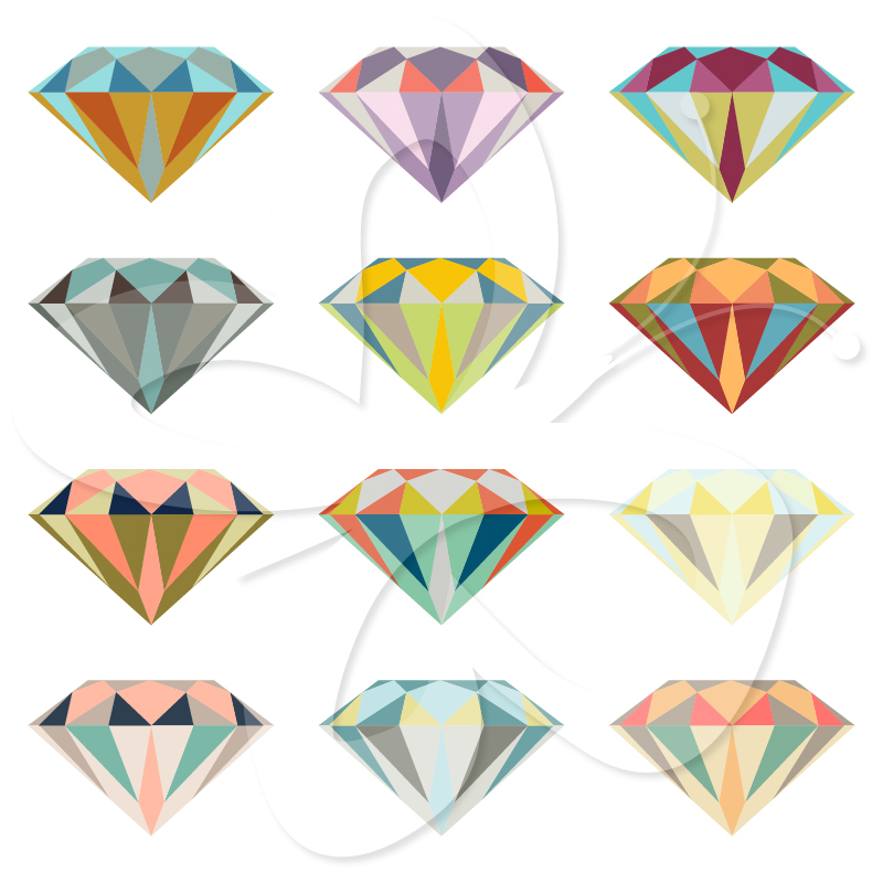 Diamond clipart colorful Set Collection Clip Diamond Clipart