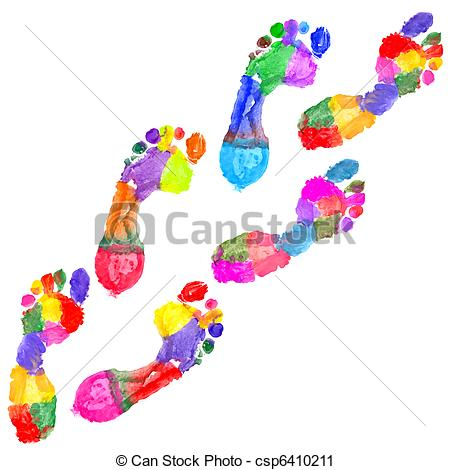 Footprint clipart colored Colored Multi csp6410211 csp6410211 background
