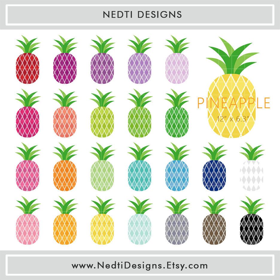 Color clipart pineapple Art Clip PNG Planner Printable