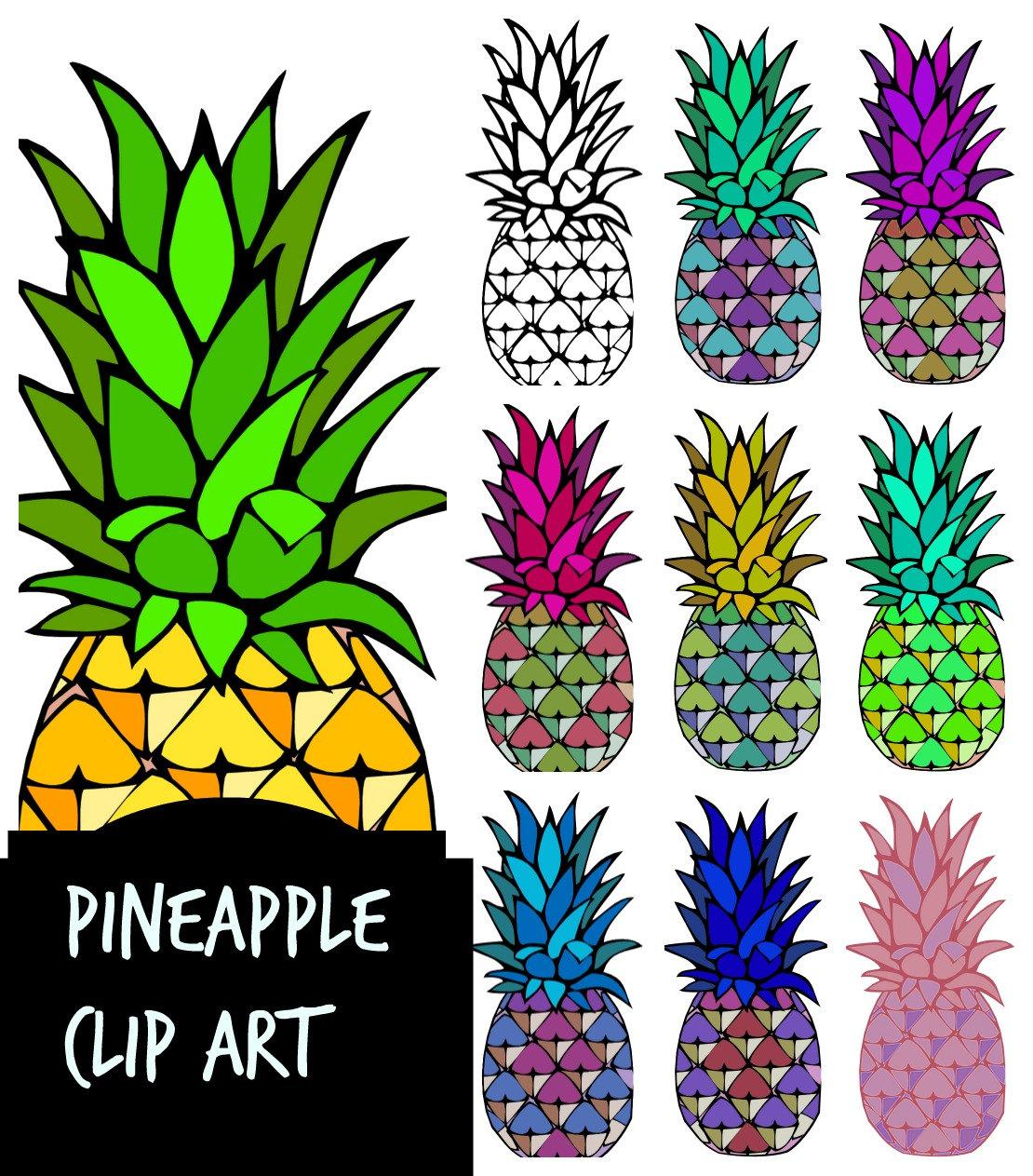 Color clipart pineapple Art clip Pineapples aqua pink