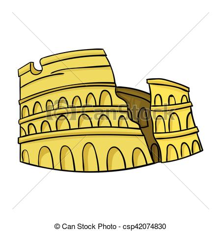 Colosseum clipart italian food Of on isolated white cartoon