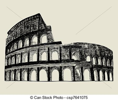 Colosseum clipart italian food Vector sketch coliseum Vector of