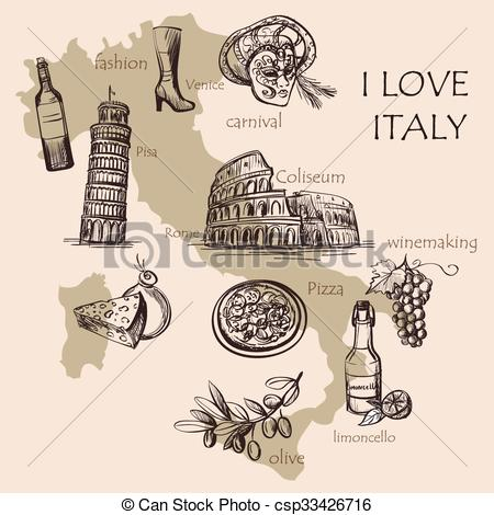 Colosseum clipart italian food Of Creative with italian map