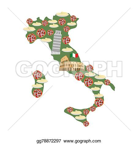 Colosseum clipart italian food Leaning food symbols: Map pizza