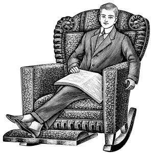 Comfort clipart recliner  vintage black white sitting