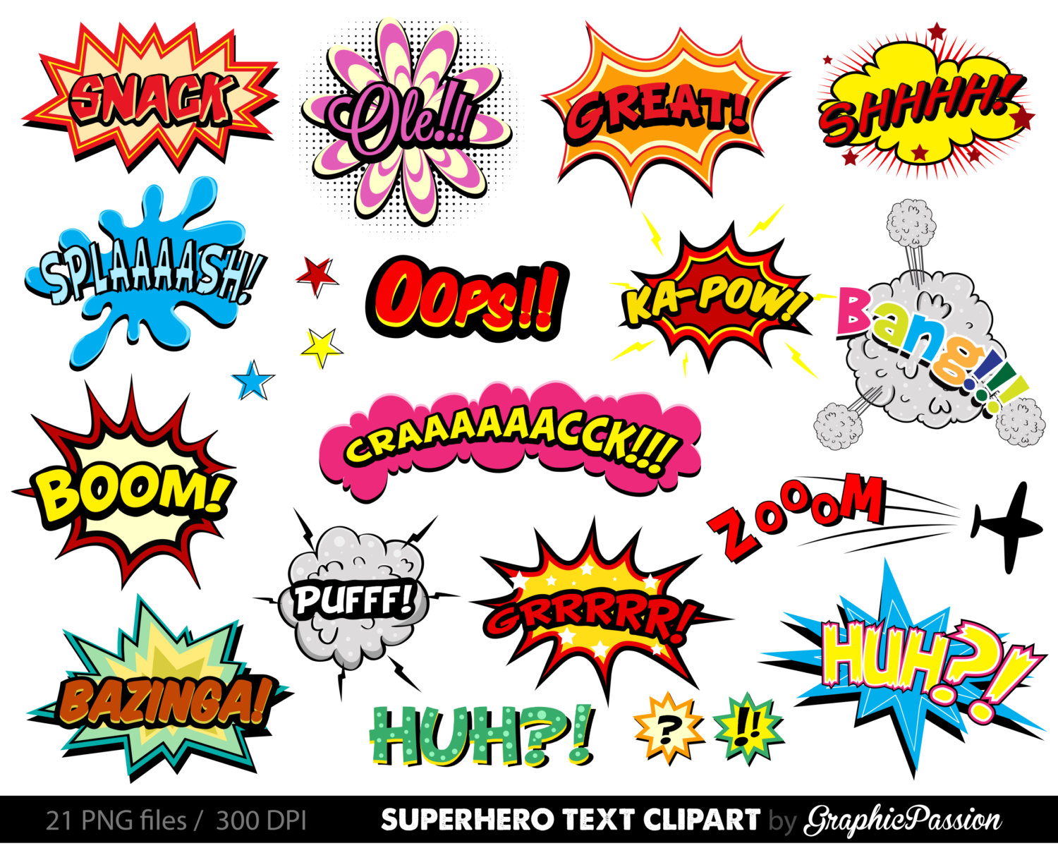 Comic clipart INSTANT Comic files Cloud Speech