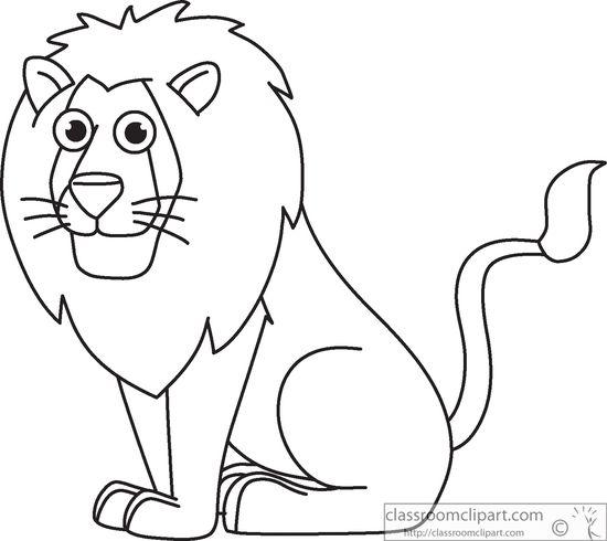 Cartoon clipart black and white Black lion lion Clip outline