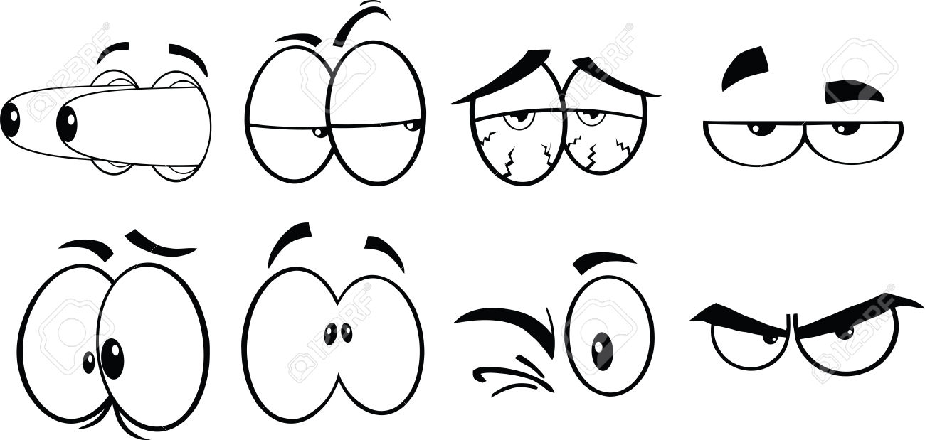 Comic clipart eye White Free vector collection Black