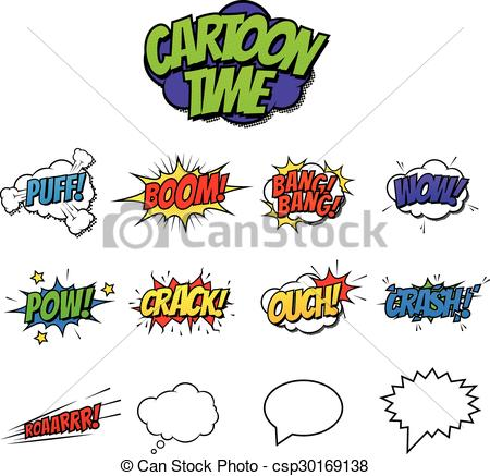 Comic clipart onomatopoeia Vectors and csp30169138  Comic