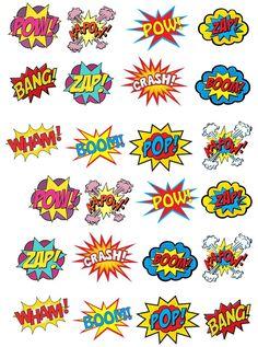Comic clipart saying Superhero  Art Wafer Pow